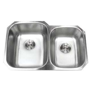 32-inch Double 40/60 Bowl 18 Gauge Undermount Stainless Steel Kitchen Sink with Basket Strainer (Large Left Bowl)