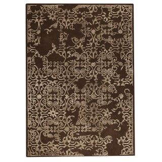 Hand-Tufted Indo Illusion Brown Rug (5'6 x 7'10)