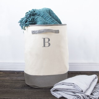 Personalized Round Grey Canvas Storage Hamper