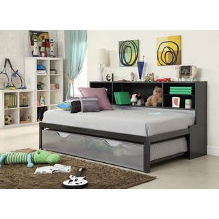 Renell Black and Silver Twin Bed with Bookcase and Trundle|https://ak1.ostkcdn.com/images/products/11546843/P18491958.jpg?impolicy=medium