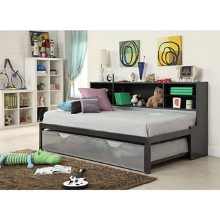 Renell Black and Silver Twin Bed with Bookcase and Trundle