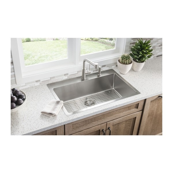 Elkay Crosstown Universal Mount Steel ECTSRS33229BGFR2 Satin Kitchen Sink    Free Shipping Today   Overstock.com   18491966