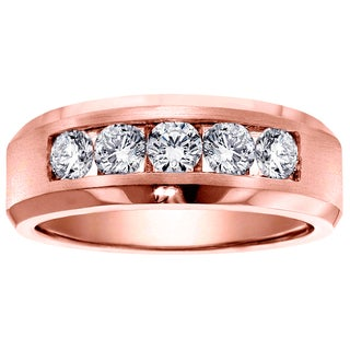 14k Rose Gold Men's 1ct TDW 5-stone Channel-set Diamond Wedding Ring