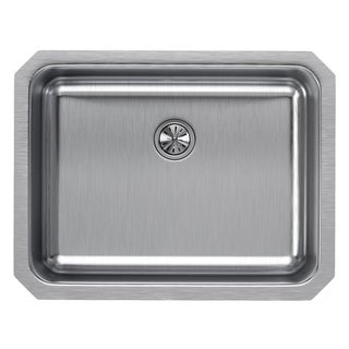 "Elkay Lustertone Stainless Steel 23-1/2"" x 18-1/4"" x 7-1/2"", Single Bowl Undermount Sink with Perfect Drain"