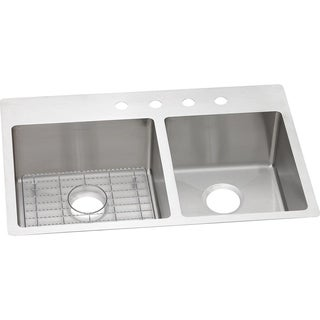 Elkay Crosstown Universal Mount Steel ECTSRO33229RBGFR2 Satin Kitchen Sink