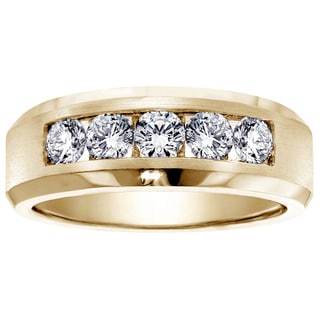 14k Yellow Gold Men's 1ct TDW 5-stone Diamond Wedding Ring (G-H, SI1-SI2)
