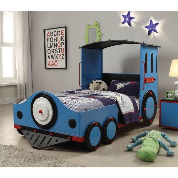 Tobi Blue, Red and Black Train Twin Bed