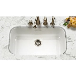 Houzer Porcela Undermount Porcelain Enamel Steel PCG 3600WH White Kitchen  Sink