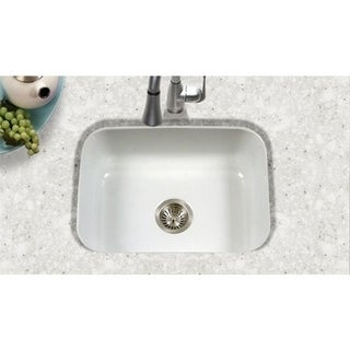 Houzer Porcela Undermount Porcelain Enamel Steel PCS-2500WH White Kitchen Sink