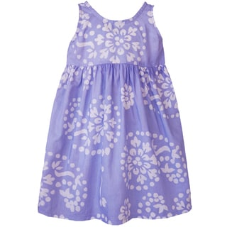 Global Mamas Hand Batiked Girls Sundress - Violet Paisley - (Ghana)