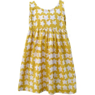 Global Mamas Hand Batiked Girls Sundress - Gold Stars - (Ghana)