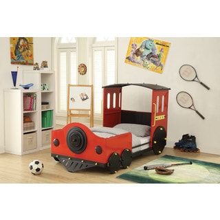 Tobi Red and Black Train Twin Bed