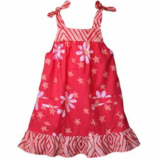 Global Mamas Hand Batiked Girls Pocket Dress - Papaya Daisy Star (Ghana)