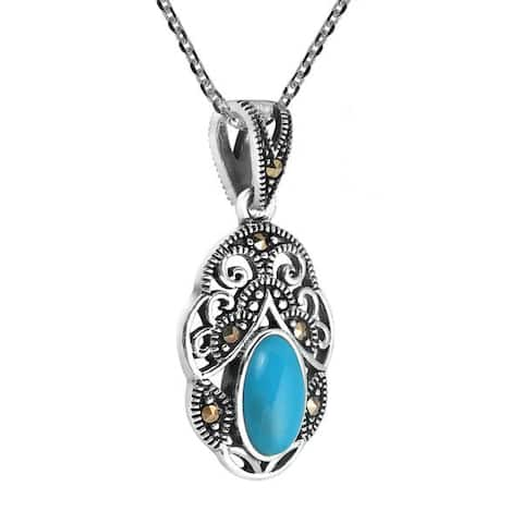 Handmade Vintage Royal Swirl Oval Stone .925 Silver Necklace (Thailand)