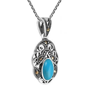 Handmade Vintage Royal Swirl Oval Stone .925 Silver Necklace (Thailand) (3 options available)