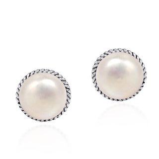 Classic Twist Round Pearl .925 Silver Stud Earrings (Thailand)