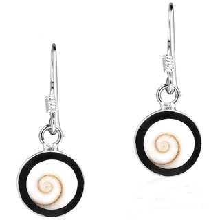 Riveting Round Swirl Shiva Shell .925 Silver Dangle Earrings (Thailand)