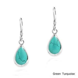 Delectation Teardrop Stone Sterling Silver Dangle Earrings (Thailand)