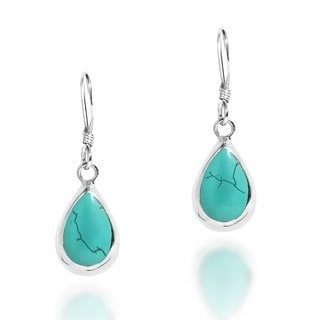 Handmade Delectation Teardrop Stone Sterling Silver Dangle Earrings (Thailand)