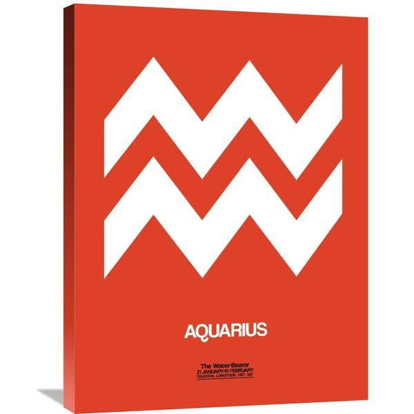 Naxart Studio 'Aquarius Zodiac Sign White on Orange' Stretched Canvas Wall Art
