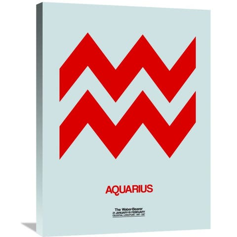 Naxart Studio 'Aquarius Zodiac Sign Red' Stretched Canvas Wall Art