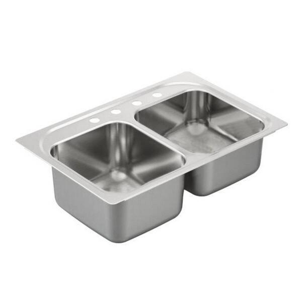 Moen Kitchen Sinks : Polaris Sinks PT2201US Topmount Double Equal Bowl Stainless Steel Sink