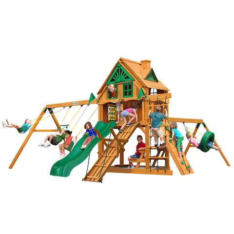 Gorilla Playsets Frontier Treehouse Cedar Swing Set with Fort Add-On and Natural Cedar Posts - Brown