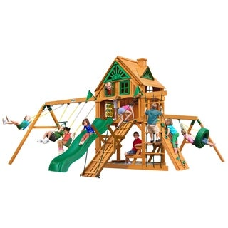 Gorilla Playsets Frontier Treehouse Swing Set with Fort Add-On and Amber Posts