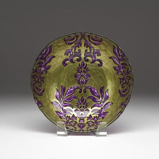 Shop Damask Green Purple Bowl Free Shipping On Orders