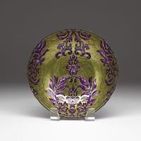 Damask Green/ Purple Bowl
