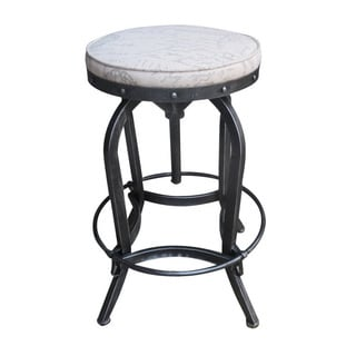 Christopher Knight Home Gunner French Script Fabric Adjustable Swivel Barstool