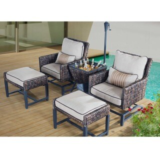 Sunjoy Brody Aluminum and PE Rattan Relaxer Set with Beige Cushions