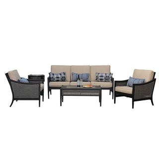 Sunjoy Bentley Chat Set Aluminum and Resin with Beige Cushions