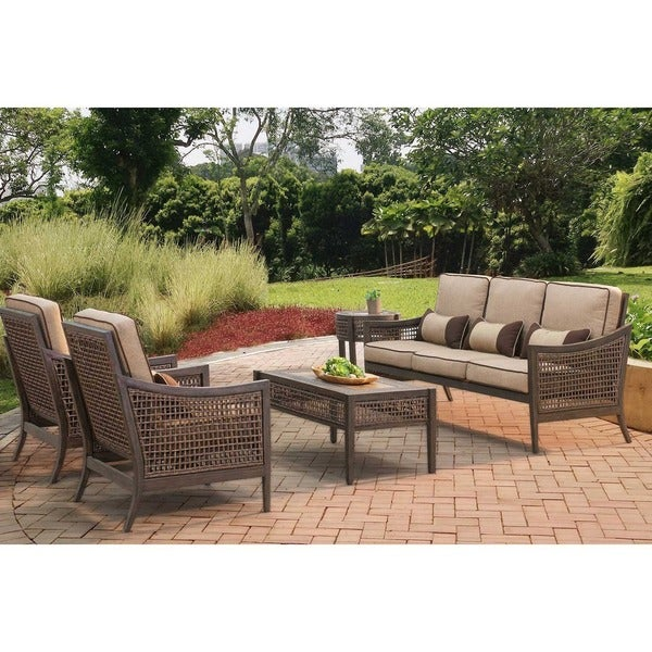 Sunjoy Bentley Chat Set Aluminum And Resin With Beige