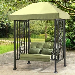 Sunjoy Aluminum and Steel Vineyard Swing with Green Canopy and Cushions
