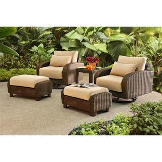 Sunjoy Symphony 5 Piece Wicker Relaxer With Beige Cushions