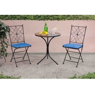 Sunjoy Poppy Multi-colored Mosaic, Steel, and Polyester Bistro Set