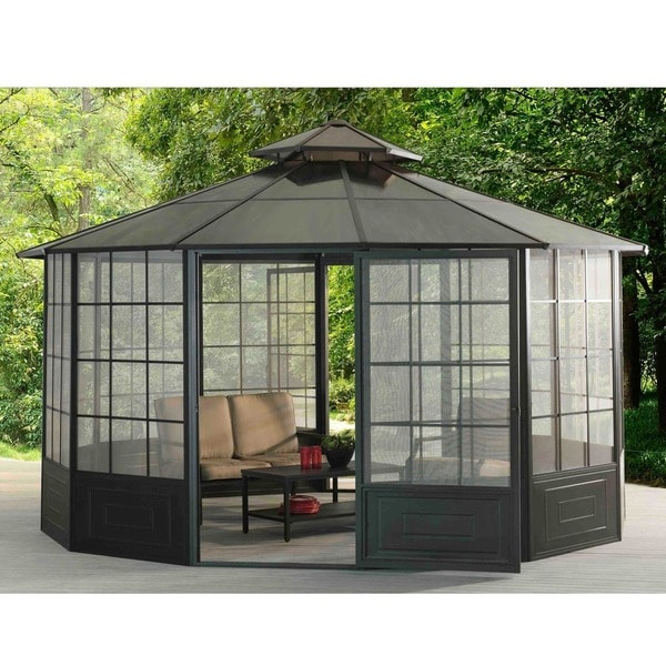 Sunjoy 110107002 Allison Screens Outdoor Pavilion - Free Shipping Today - Overstock.com - 18492407