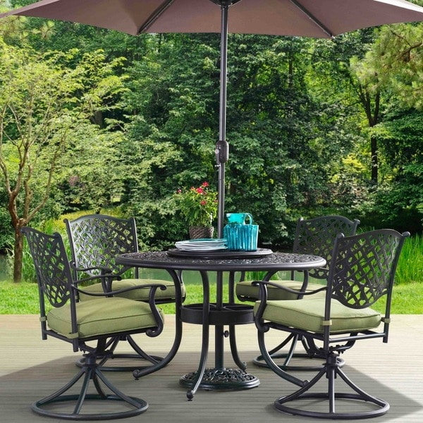 Sunjoy Vining 7 Piece Steel And Iron Dining Set With Green Cushions