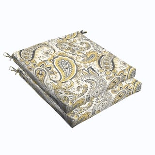 Grey Gold Paisley 20 x 2.5-inch Chair Cushion - Bristol (Set of 2)