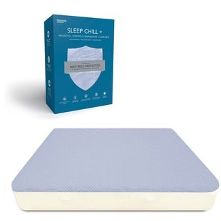 Sleep Chill + Crystal Gel Mattress Protector with Cooling Fibers and Blue 3-D Fabric