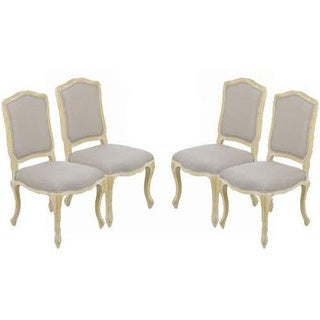 Vintage French Camelback Upholstered Side Chair (Set of 4)