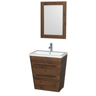 Wyndham Collection Caprice 30-inch Acrylic-Resin Sink Pedestal Vanity with 24-inch Mirror