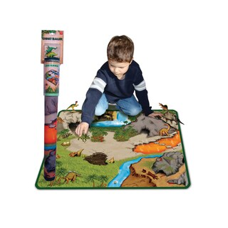 Neat-Oh Dinosaur Prehistoric World 2-Sided Playmat with 2 dinosaurs