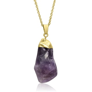 30ct Natural Amethyst Quartz Necklace In Gold Overlay, 30 Inches