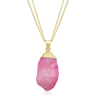 30ct Natural Pink Quartz Necklace In Gold Overlay, 30 Inches