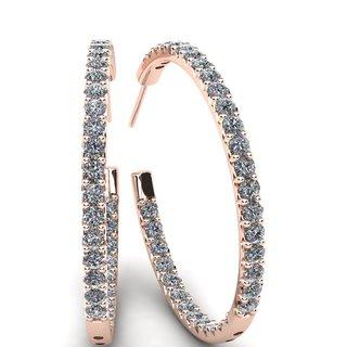 14k Rose Gold 3ct TDW Diamond Three Quarter Hoop (H-I, I1-I2)