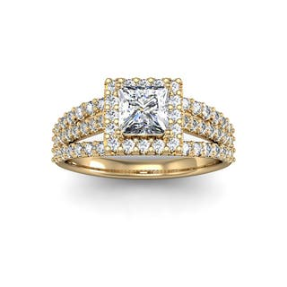 14k yellow gold 1 12ct diamond halo engagement ring with 1ct clarity - Wedding Rings Yellow Gold