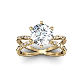 Modern X Band 2.25 Carat Solitaire Engagement Ring With 48 Side Diamonds in 14K Yellow Gold (H-I, I1