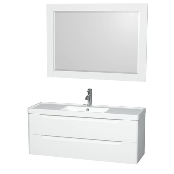 Shop wyndham murano collection 48 inch acrylic resin for 48 inch mirrored bathroom vanity